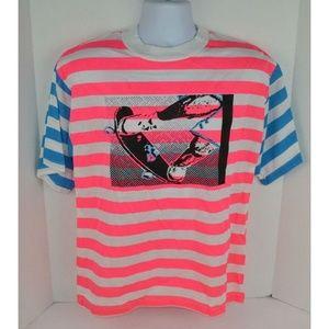 Vtg 1980s Neon Skateboard Surf T-Shirt Pink/Blue